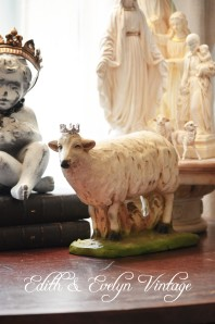 Vintage plaster sheep statue from closed church